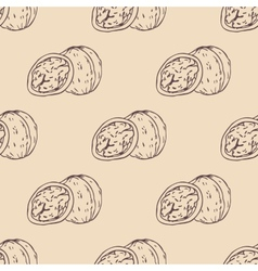 Outline walnut seamless pattern vector