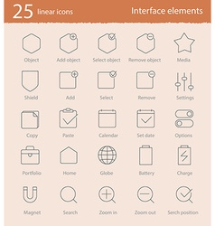 25 linear icons set vector