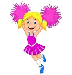 Cheerleader cartoon with pom poms vector