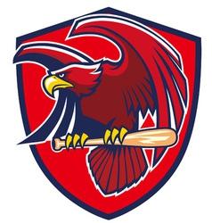 Hawk hold baseball bat vector