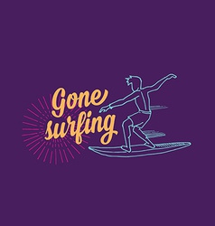 Surf surfboard icon banner surfer vector