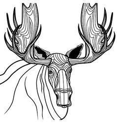Moose head animal for t-shirt sketch elk tattoo de vector