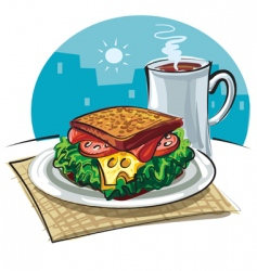 Sandwich and coffee vector