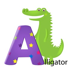 Green alligator with letter a vector