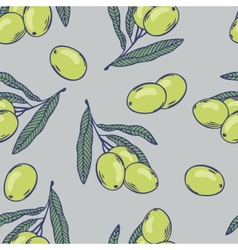 Branches of olives seamless pattern hand drawn vector