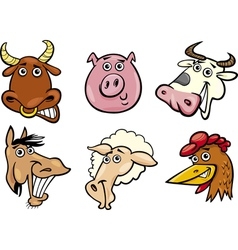 Cartoon farm animals heads set vector