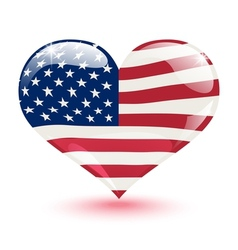 Flag of the united states in the form of heart vector