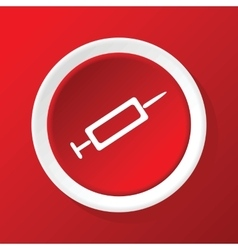 Syringe icon on red vector