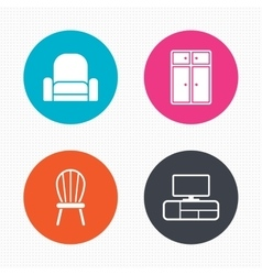 Furniture icons cupboard chair and tv table vector