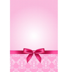 Pink wallpaper with bow vector