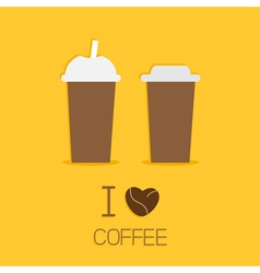 Disposable coffee paper cups icon i love coffee vector