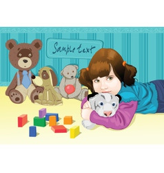 Baby playing with toys vector