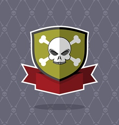Shield with skull pirate emblem vector