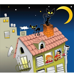 Cat on roof vector