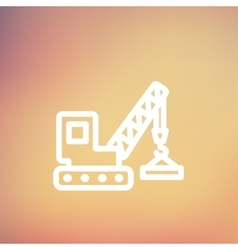 Lifting crane trailer thin line icon vector