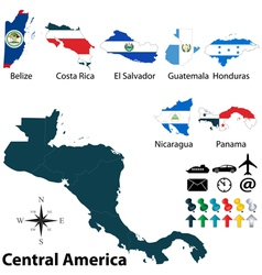 Maps with flags of central america vector
