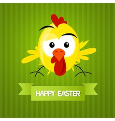 Green easter background with yellow funny chicken vector