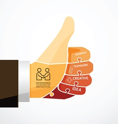 Fingers shape good ok jigsaw banner concept vector