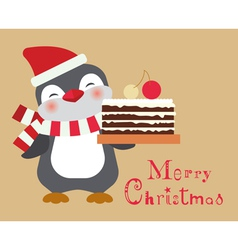 Christmas penguin with cake card vector