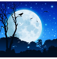Forest landscape with moon vector