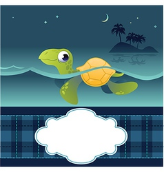Card with funny turtle vector