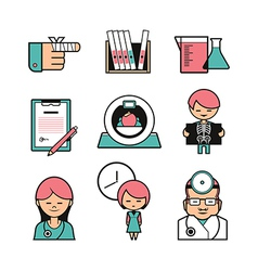 Medical color icons vector