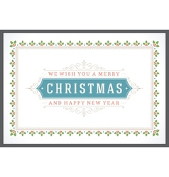 Christmas retro typographic and ornament vector