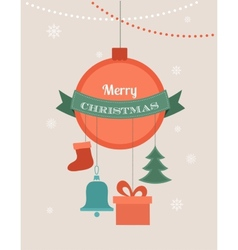 Card with christmas ball and seasonal objects vector