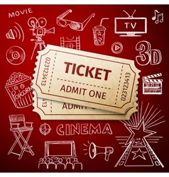Two tickets and hand draw cinema icon vector