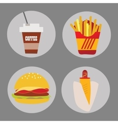 Set of icons fast food coffee potato hamburger hot vector