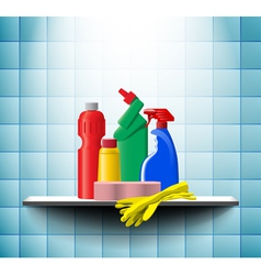 Shelf with detergents vector