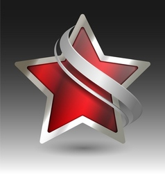 Elegant metallic star embleme with embellishment vector