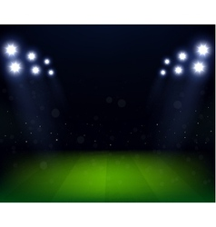 Football stadium at night with spotlight vector