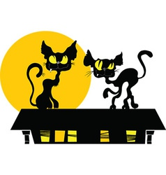 Black cat and the moon cartoon vector