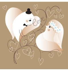 Two lovers doves retro styled   eps10 vector