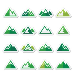 Mountain green icons set vector