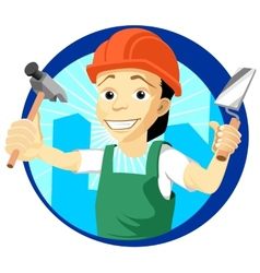 Cheerful plasterer with a trowel and hammer vector