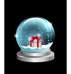 Snow globe with gift box vector