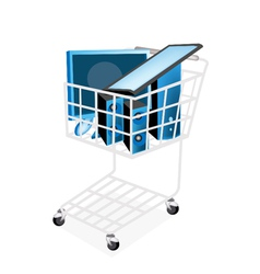 Set of desktop computer in shopping cart vector