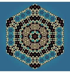 Abstract ornamental shape mandala on blue vector