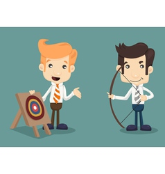 Businessman aiming at target with bow and arrow vector