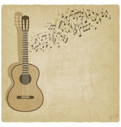 Vintage music guitar background vector