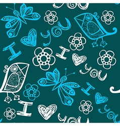 I love you seamless pattern with butterflies and vector