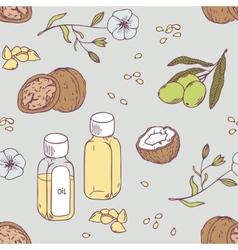 Healing oils seamless pattern healthy background vector