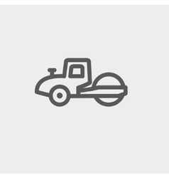 Road roller thin line icon vector
