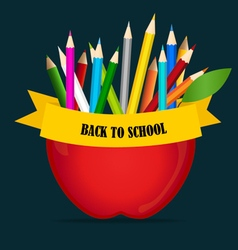 Welcome back to school with apple and color vector
