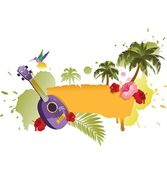 Tropical banner with palm trees ukulele and flower vector