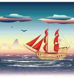 Sailing ship on the sea2 vector