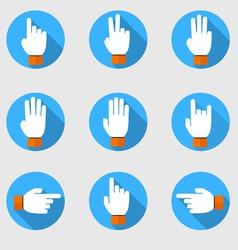 Set of flat hands make number vector
