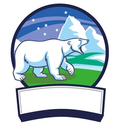 Polar bear and ice nature background vector